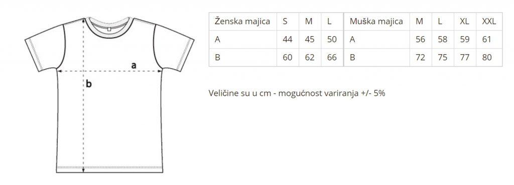 dimenzije majica